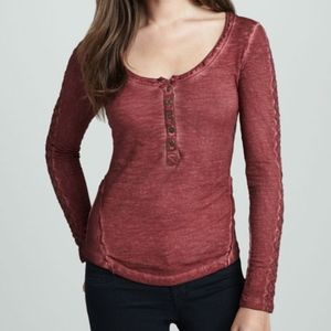 Free People Lace Sleeve Stitched Henley Shirt L